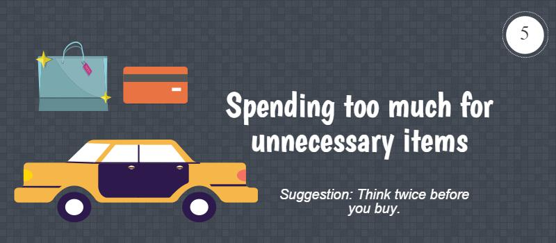 spending too much on unnecessary items