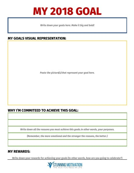 goal setting template from stunning motivation