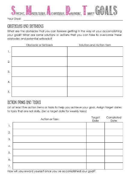 Worksheet Goal Setting Worksheets 11 effective goal setting templates for you stunning motivation template from the budget mama