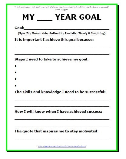 11 effective goal setting templates for you for New years goals template