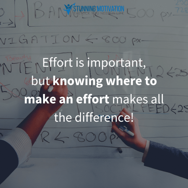 Effort is important, but knowing where to make an effort makes all the difference!